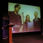 Jelle, Helen and Maja performing &quot;Spiegel van Alies&quot; via Skype to St Andrews