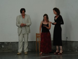 Jelle, Helen and Maja performing at Campo Santo
